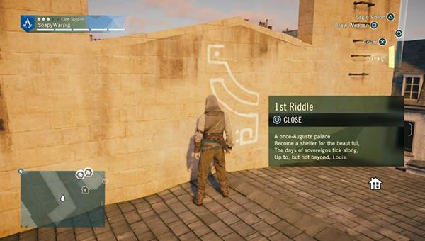 Поднимитесь на крышу за первым символом.